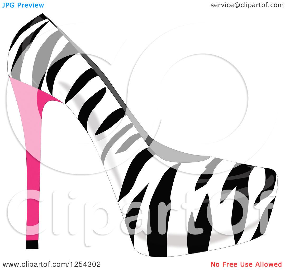 Zebra print high heel clipart.