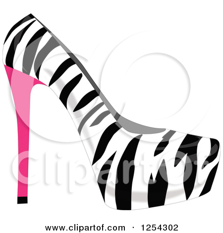 Clipart of a Fashionable Leopard Print High Heel Shoe.