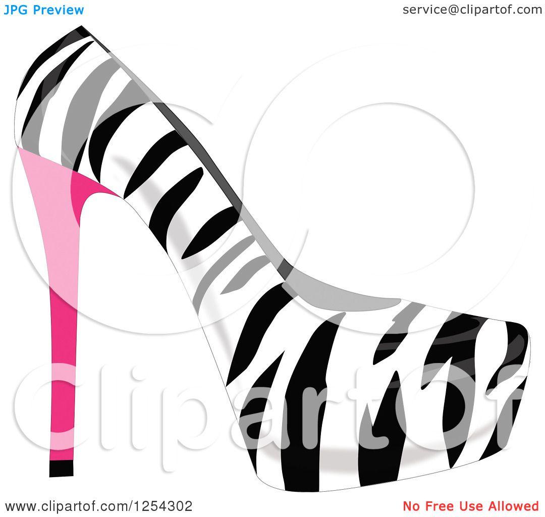 Clipart of a Fashionable Zebra Stripe High Heel Shoe.