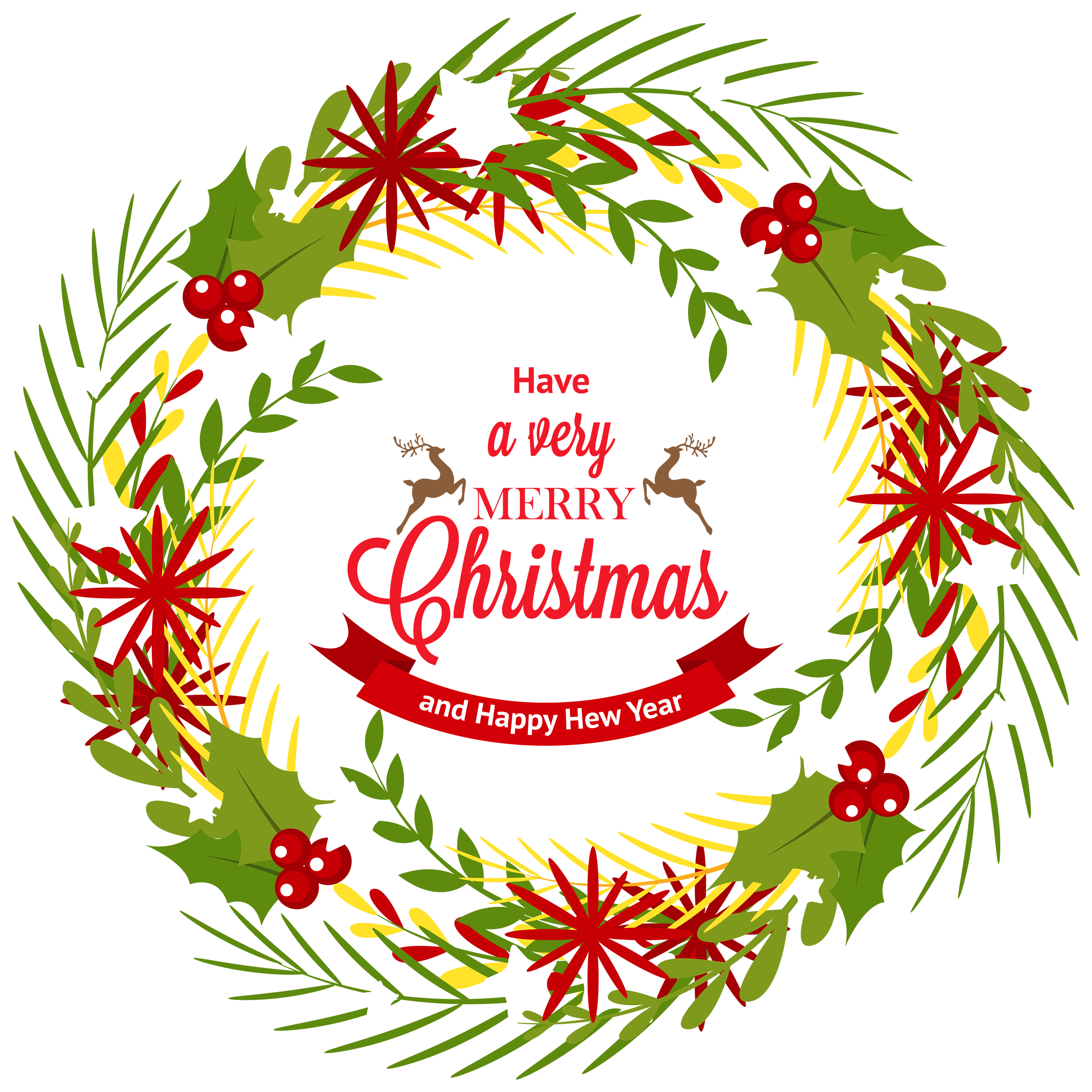 Christmas Wreath with Mistletoe PNG Clipart.