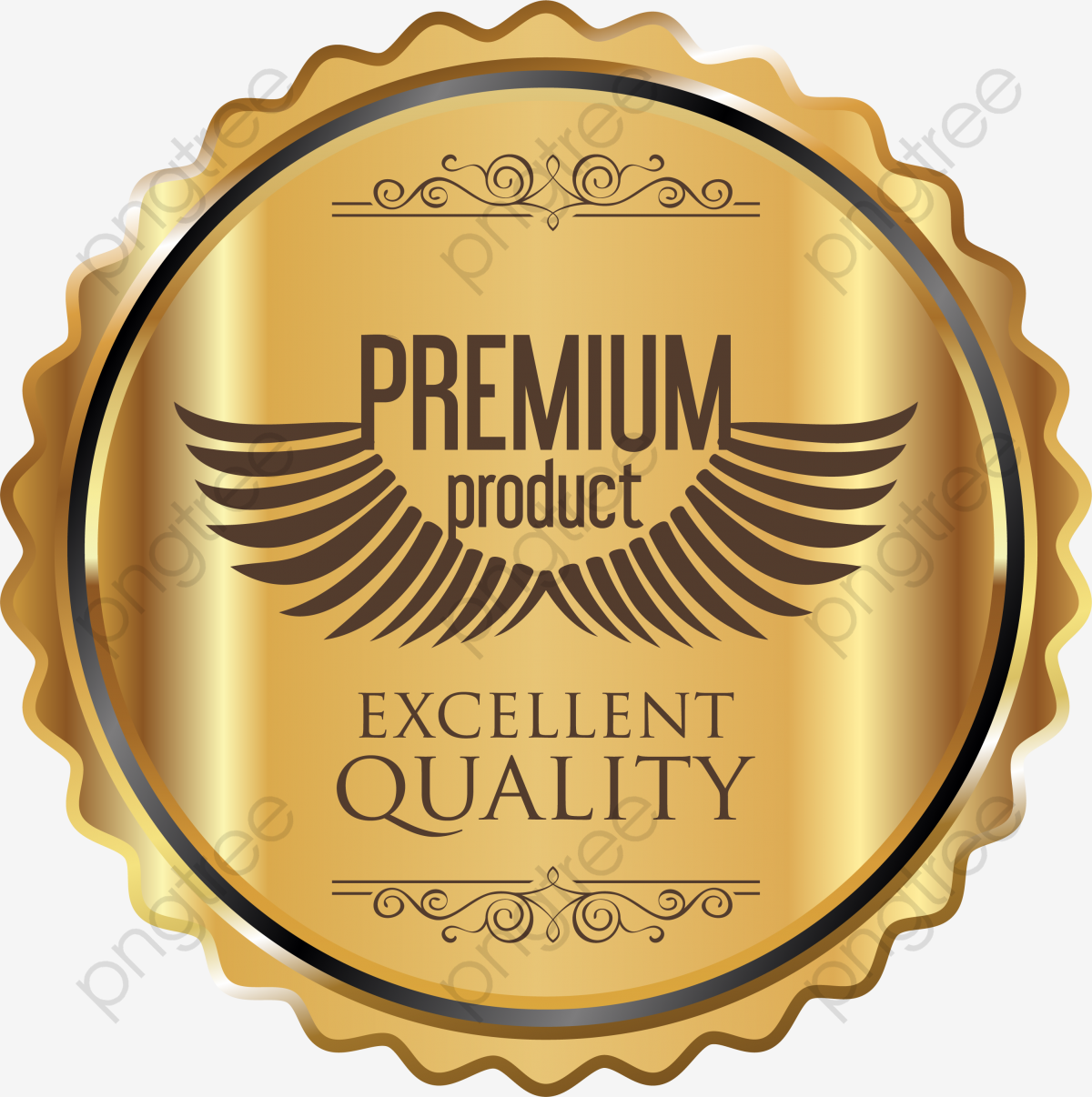 Metal Texture Quality Badge, High Quality, Product Label, Gold Badge.