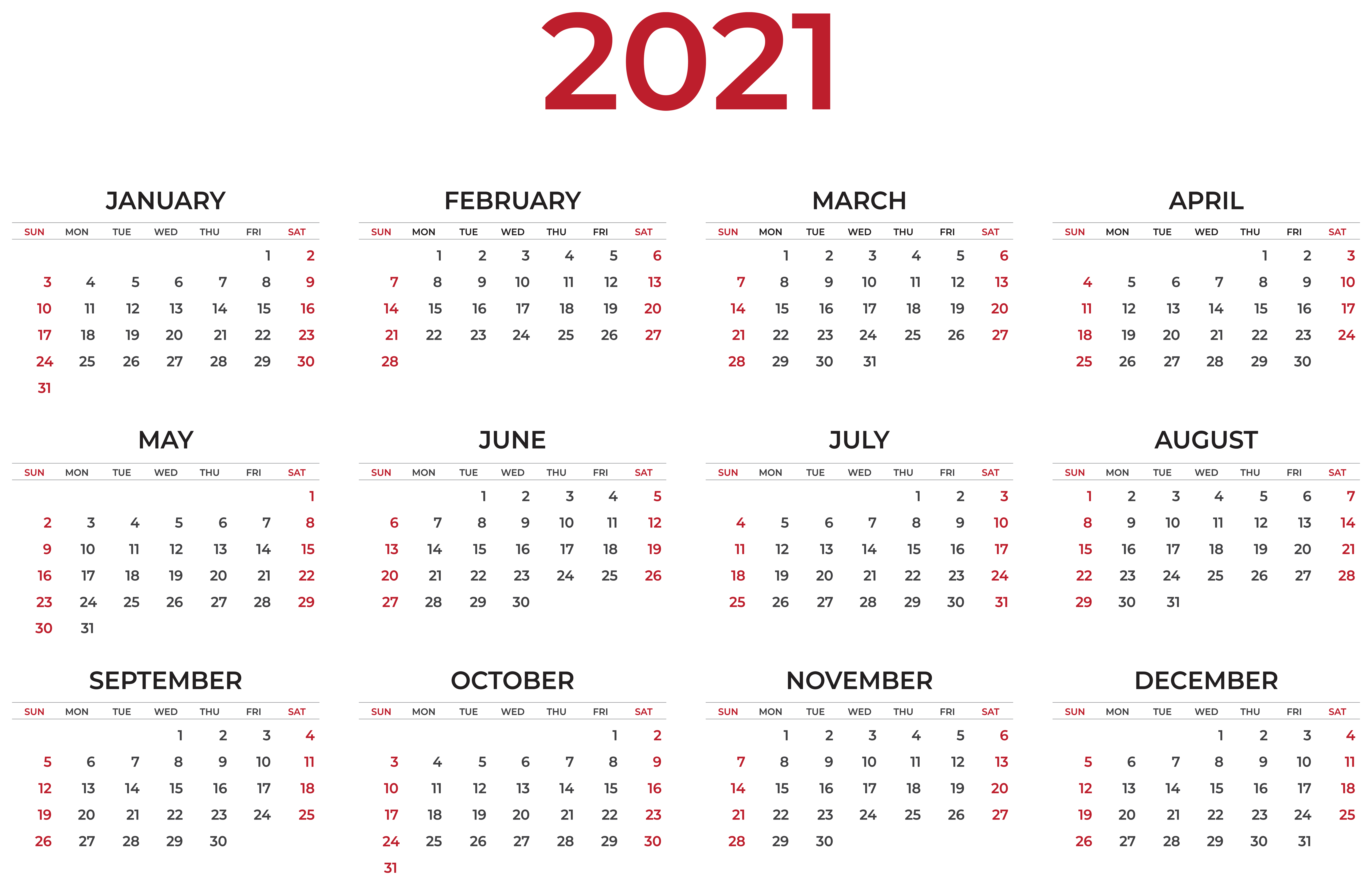 2021 Calendar Transparent Clipart.