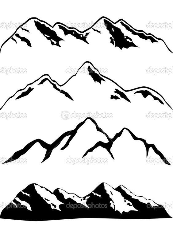 Small Mountain Silhouette Clipart.
