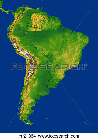 Stock Photo of map, relief, south america, terrain, topographic.
