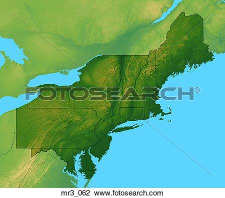Stock Photo of map, new england, northeast, relief, terrain.