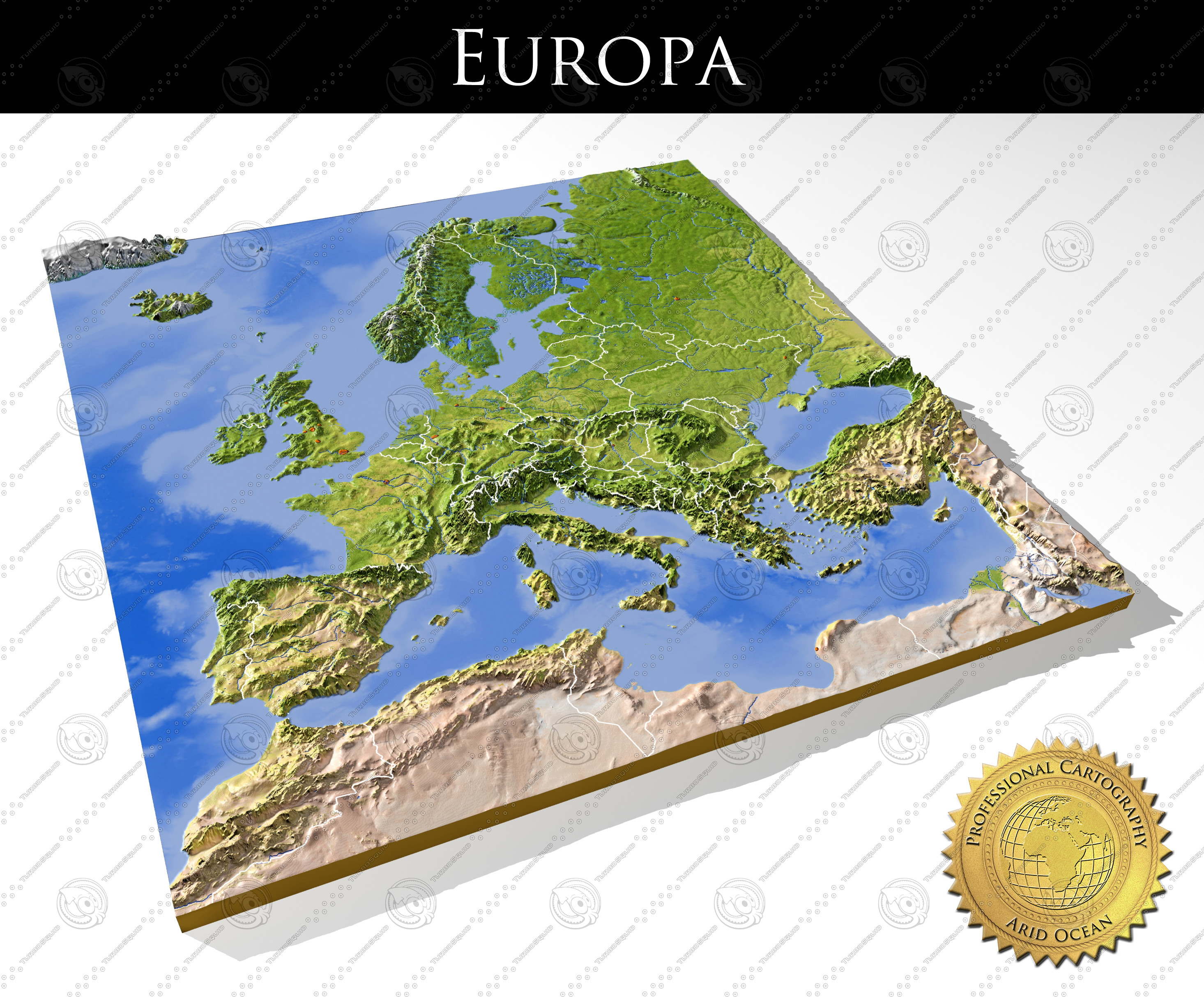 Searched 3d models for Europe map.