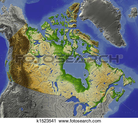 Clipart of Canada, shaded relief map k1523541.