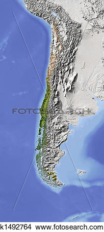 Drawings of Chile, shaded relief map k1492764.