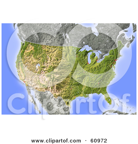 Clipart Shaded Relief Map Of North America With United States And.
