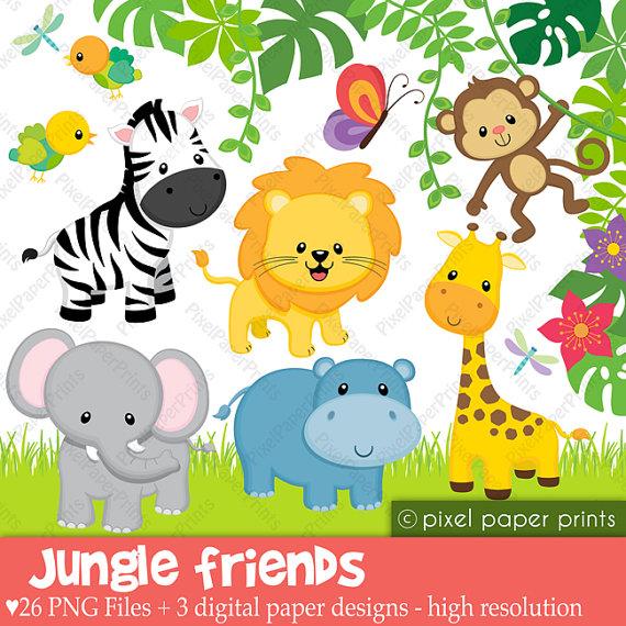 Jungle Friends Animals Clip art and Digital by pixelpaperprints.