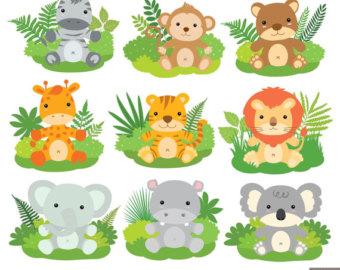 Jungle Animals Baby Digital Clipart / Safari Animals Clip art.