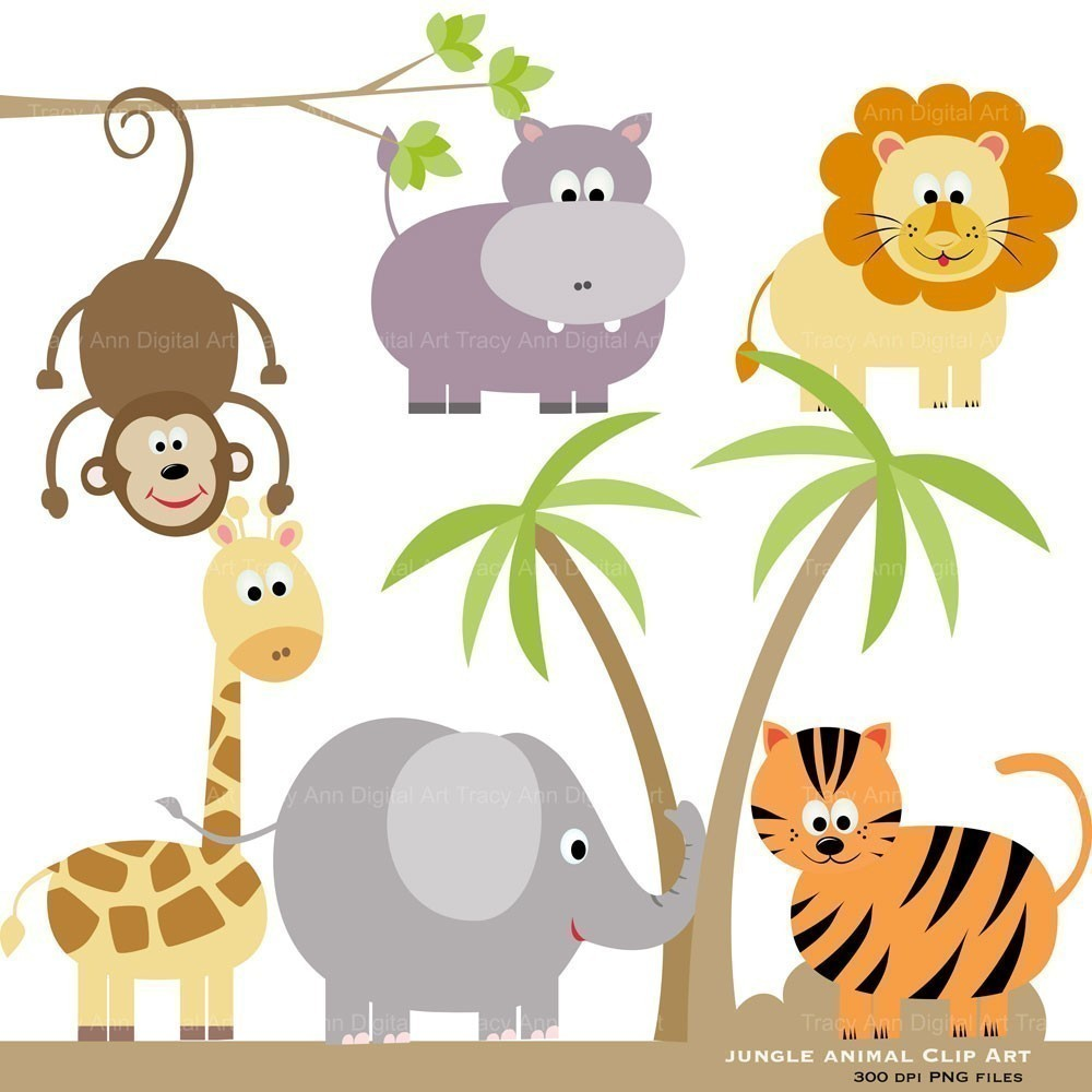 SALE Jungle Animal Clip art for wedding invites baby.