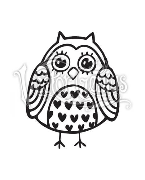 High Resolution Cute Fat Owl Hearts Clip Art Stock Art.