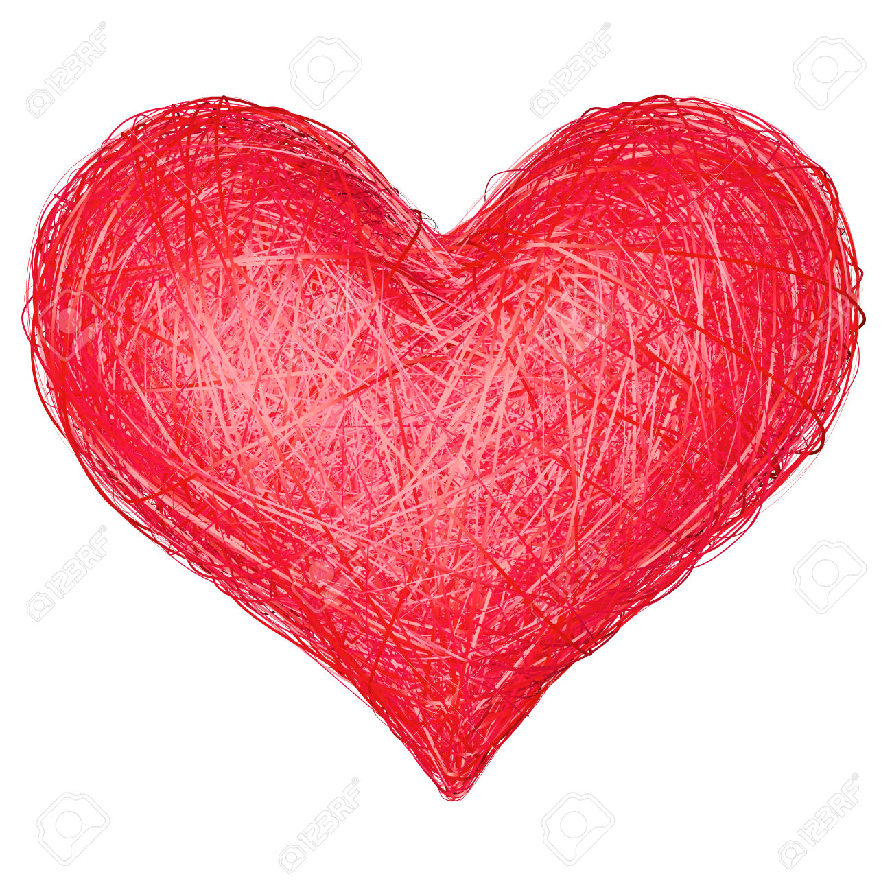 Heart Shape Composed Of Red Ribbons Isolated On White. High.