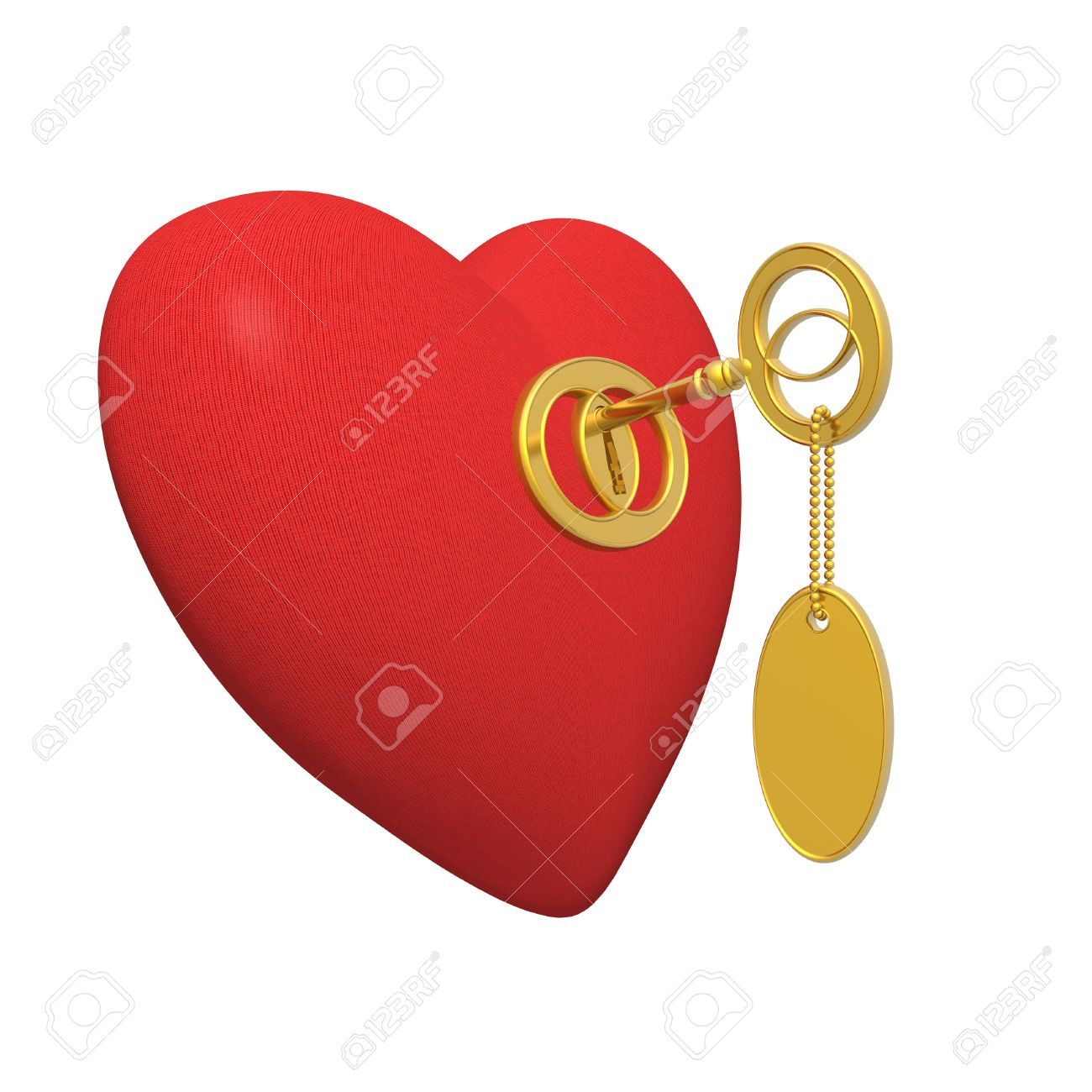 Red Fabric Heart And Golden Key (high Resolution) Stock Photo.