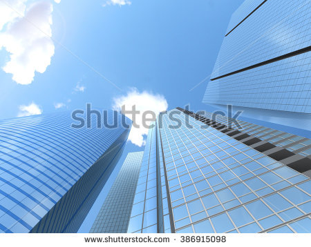 Modern Business Office Skyscrapers Looking Highrise Stock.