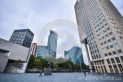 One Of The Streets In Rotterdam Stock Photo.