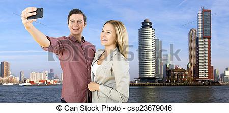 Stock Photo of Rotterdam city selfie.