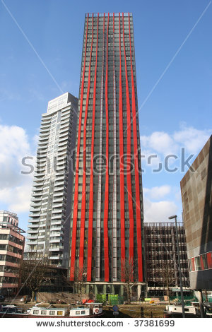 Modern Highrise Apartment Buildings Rotterdam Holland Stock Photo.