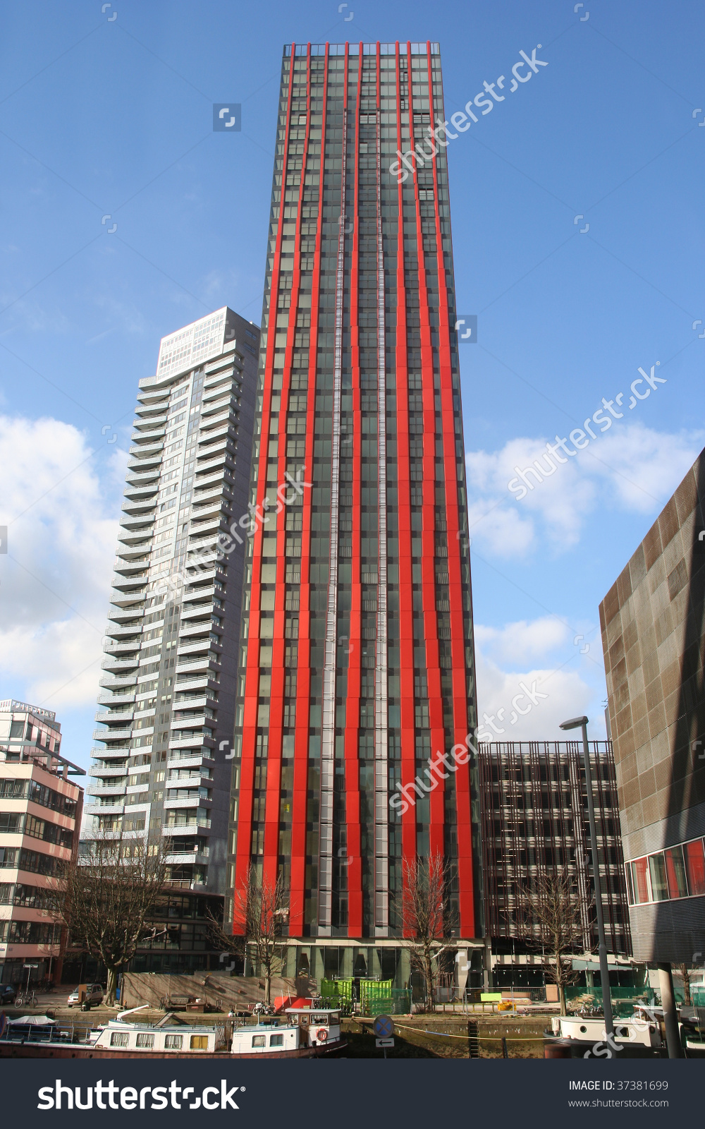 Modern Highrise Apartment Buildings Rotterdam Holland Stock Photo.