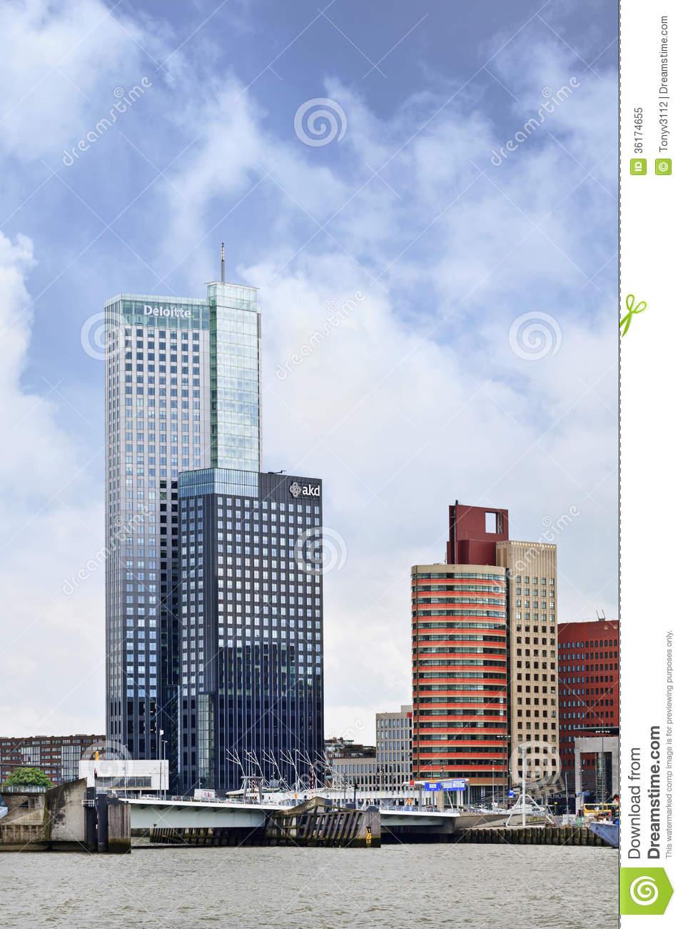 Modern High Rise Office Building, Rotterdam, Holland. Editorial.