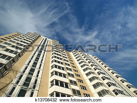 Clip Art of Modern residential high rise building. Moscow, Russia.