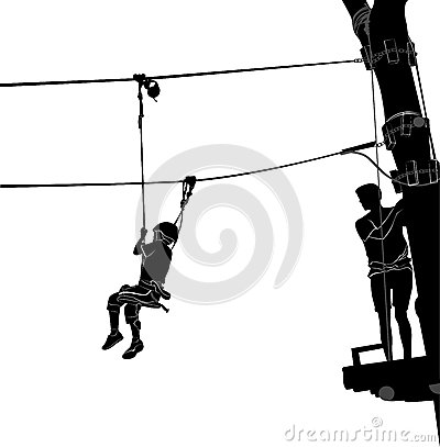 Adventure Park Rope Ladder Stock Vector.