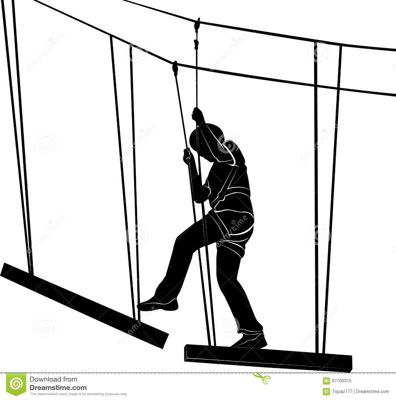 In Adventure Park Rope Ladder. Silhouette Stock Vector.