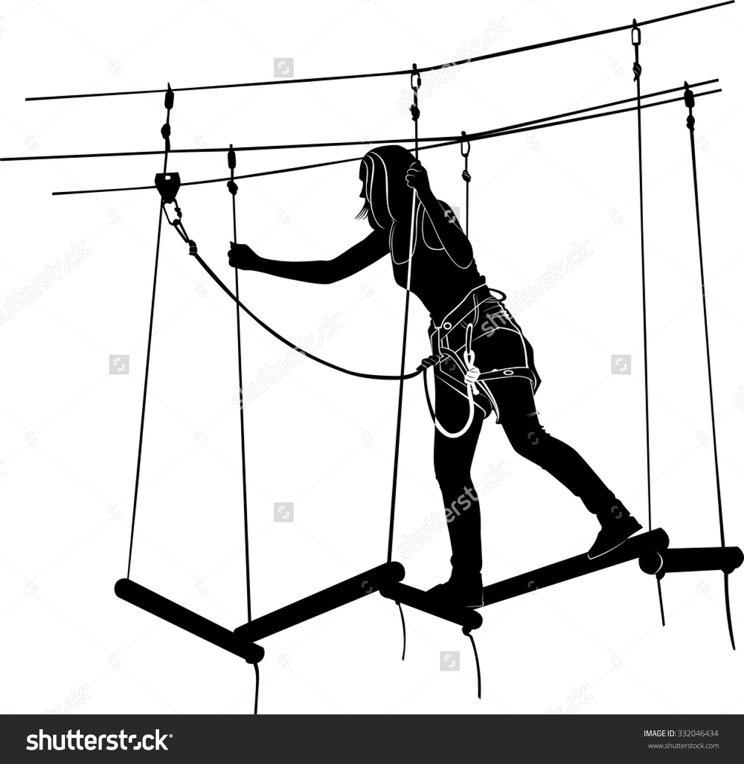 Children Adventure Park Rope Ladder Stock Vector 332046434.