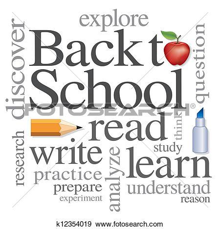 Clip Art of Back to School Word Cloud k12354019.