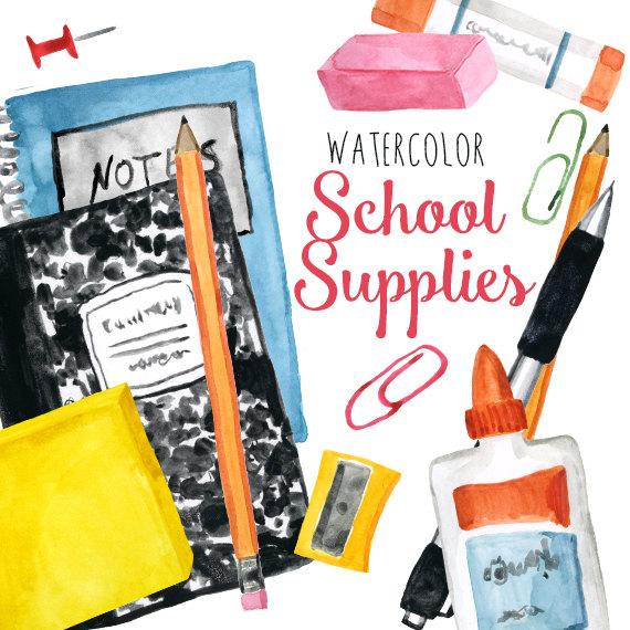 Watercolor School Supplies Clip Art Back to School Clipart.