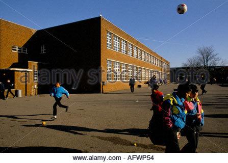 School boys in secondary school playground in London 1966 Stock.