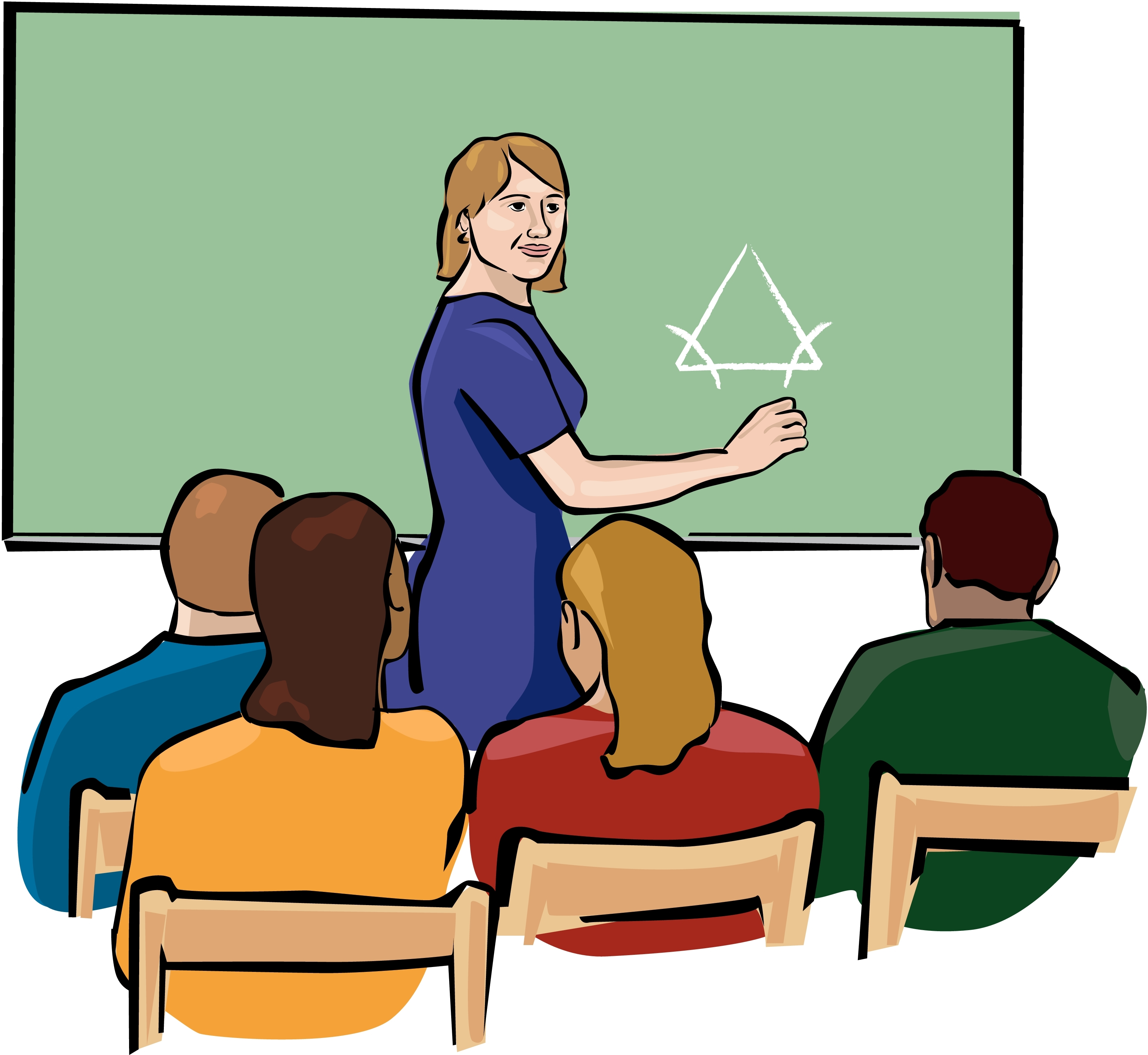High School Students In Classroom Clipart.