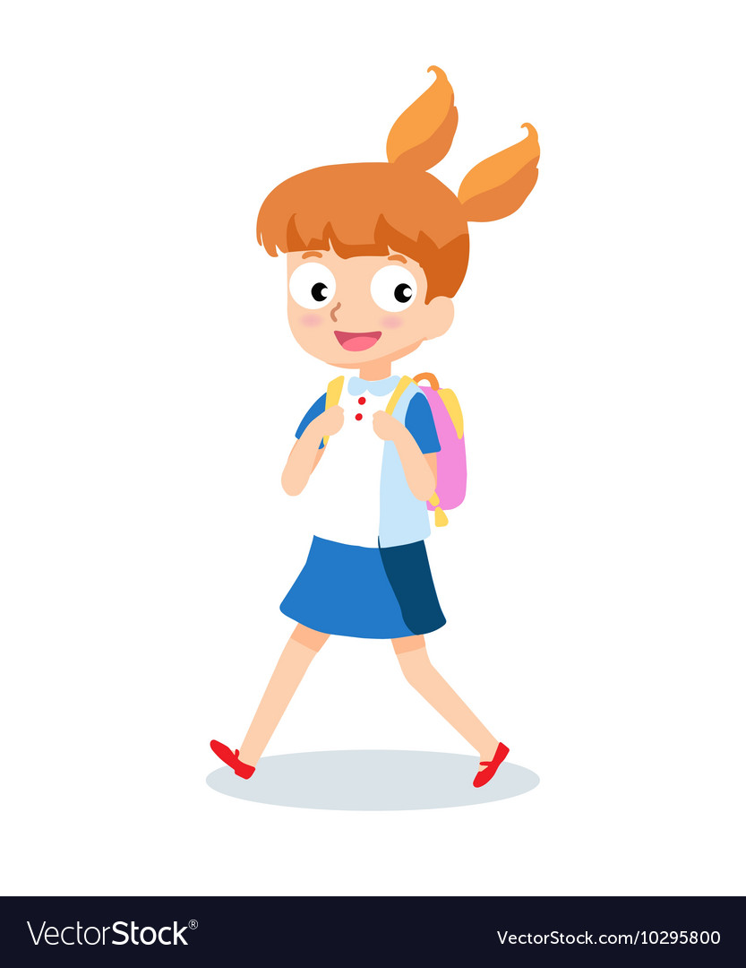 School girl goes to school with backpack cartoon.