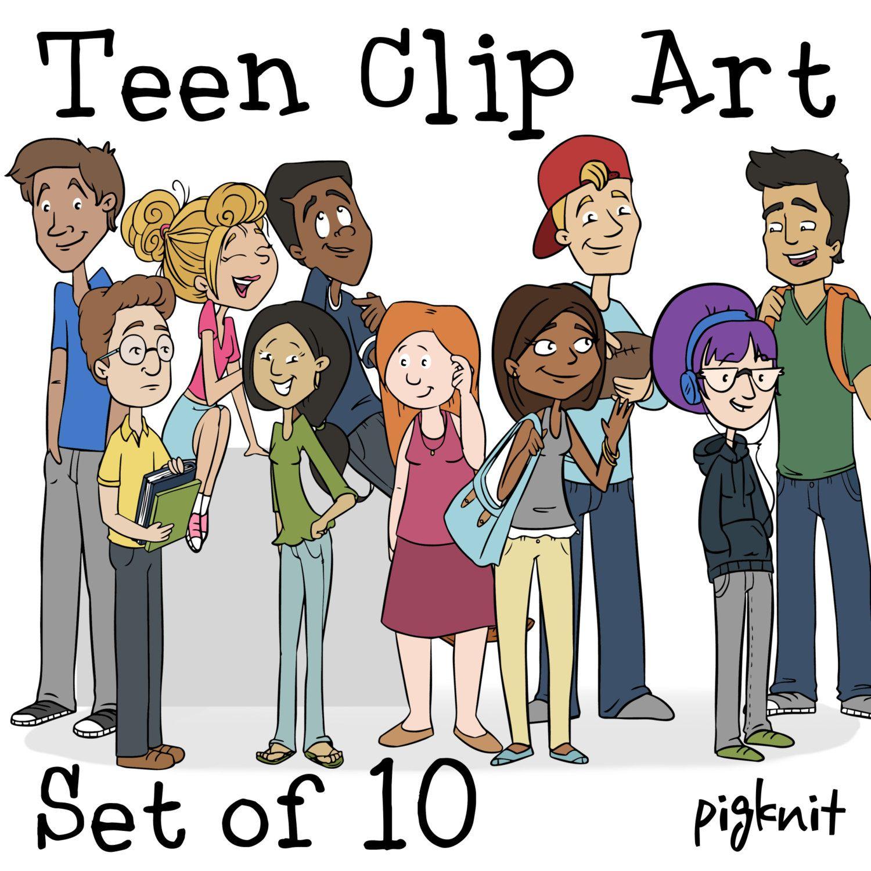 Teen Clip Art, Teenager Clip Art, Older Kids Clipart, High School.