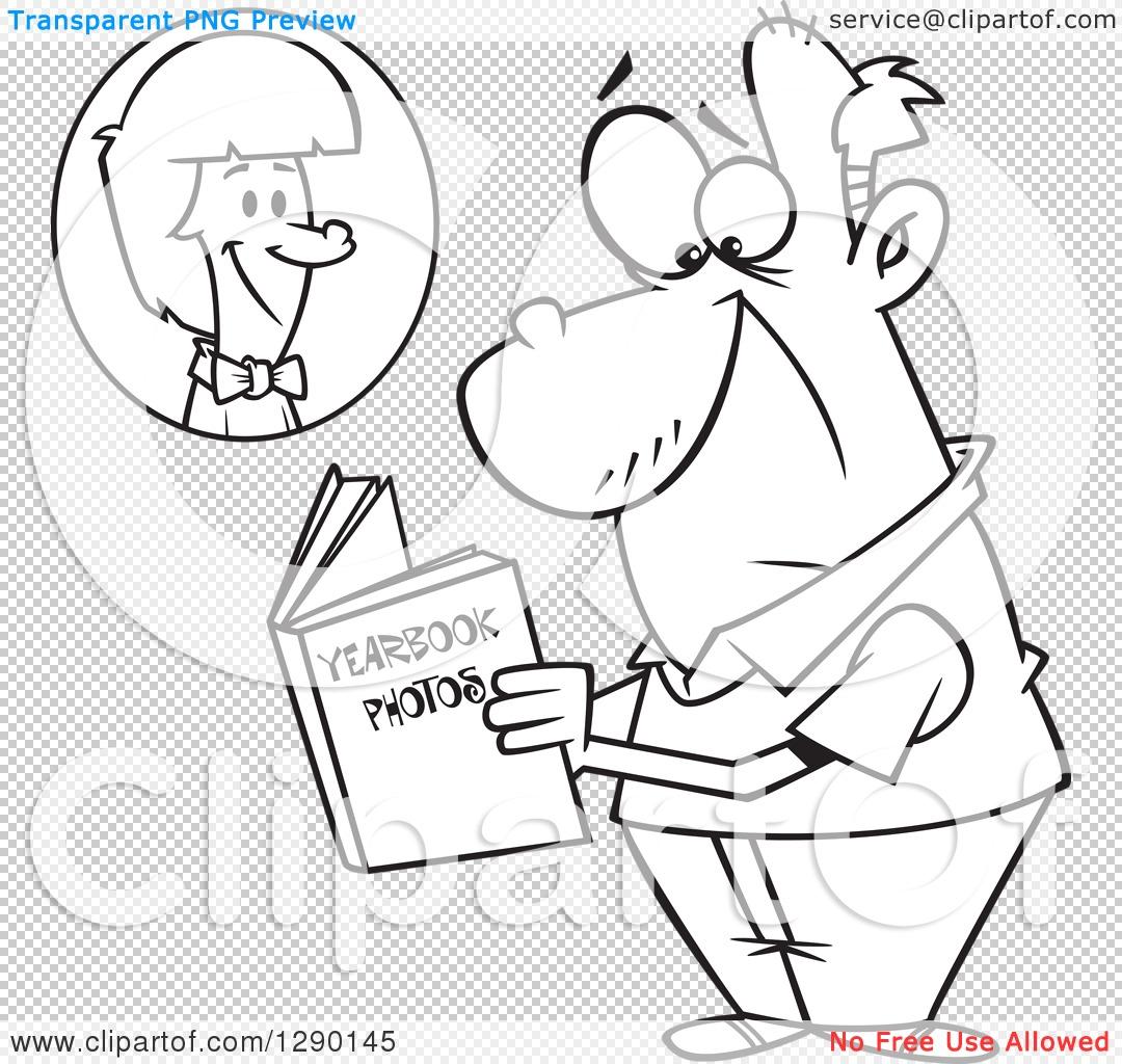 Cartoon Clipart of a Black and White Sad Senior Man Viewing His.
