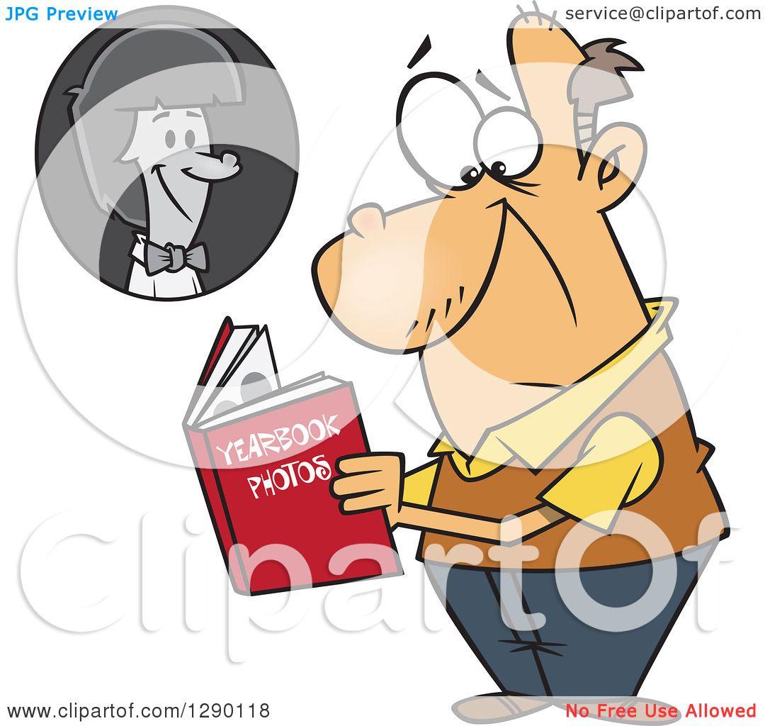 Cartoon Clipart of a Sad Senior Caucasian Man Viewing His Portrait.