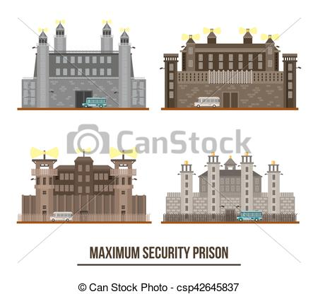 Maximum security prison Clip Art Vector and Illustration. 24.