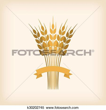 Clipart of Golden sheaf of wheat with ribbon k30202745.