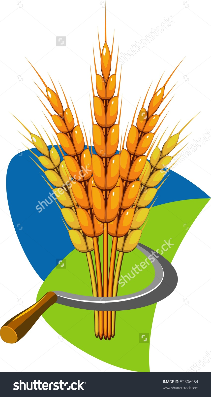 Sheaf Of Wheat And Sickle. Vector Illustration..