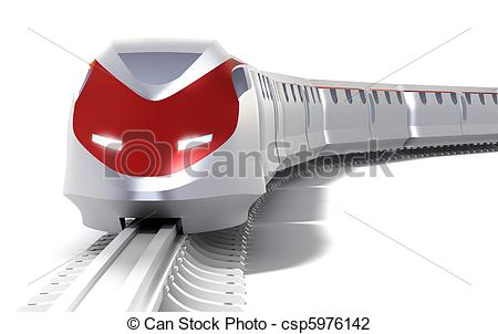 Clip Art of High speed train concept. Isolated on white csp5976142.