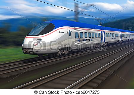 Stock Illustrations of Modern high speed train with motion blur.