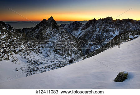 Stock Photo of Sunset in mountain High Tatras High Tatras is.