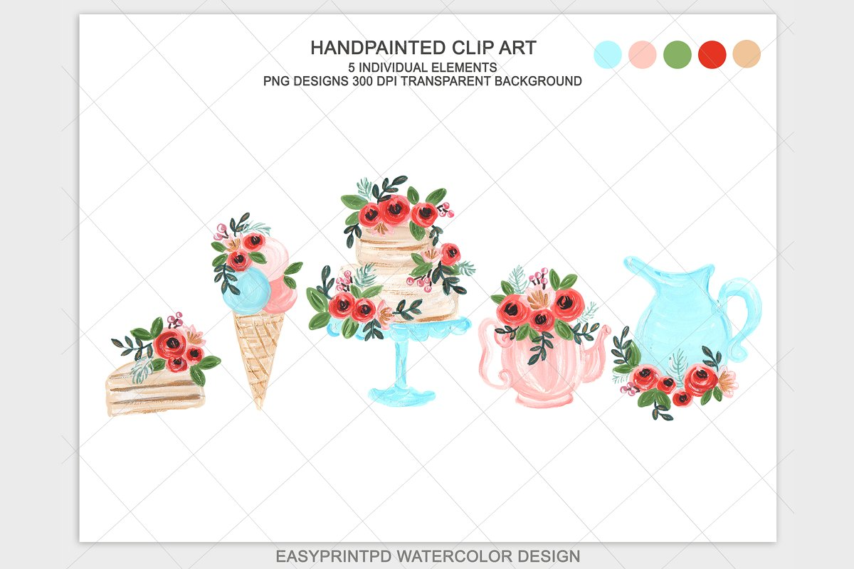 Watercolor High Tea Wedding Clipart.