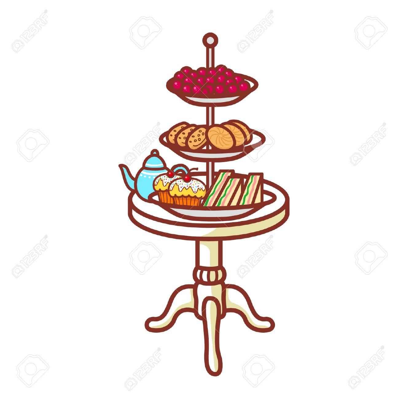 Cartoon high tea tray.