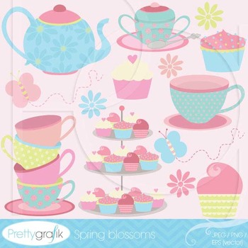 tea party clipart commercial use, vector graphics, digital clip art.