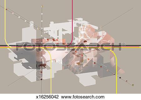 Clip Art of High tech abstract x16256042.