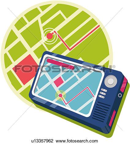 Clipart of navigation, high technology, communications equipment.