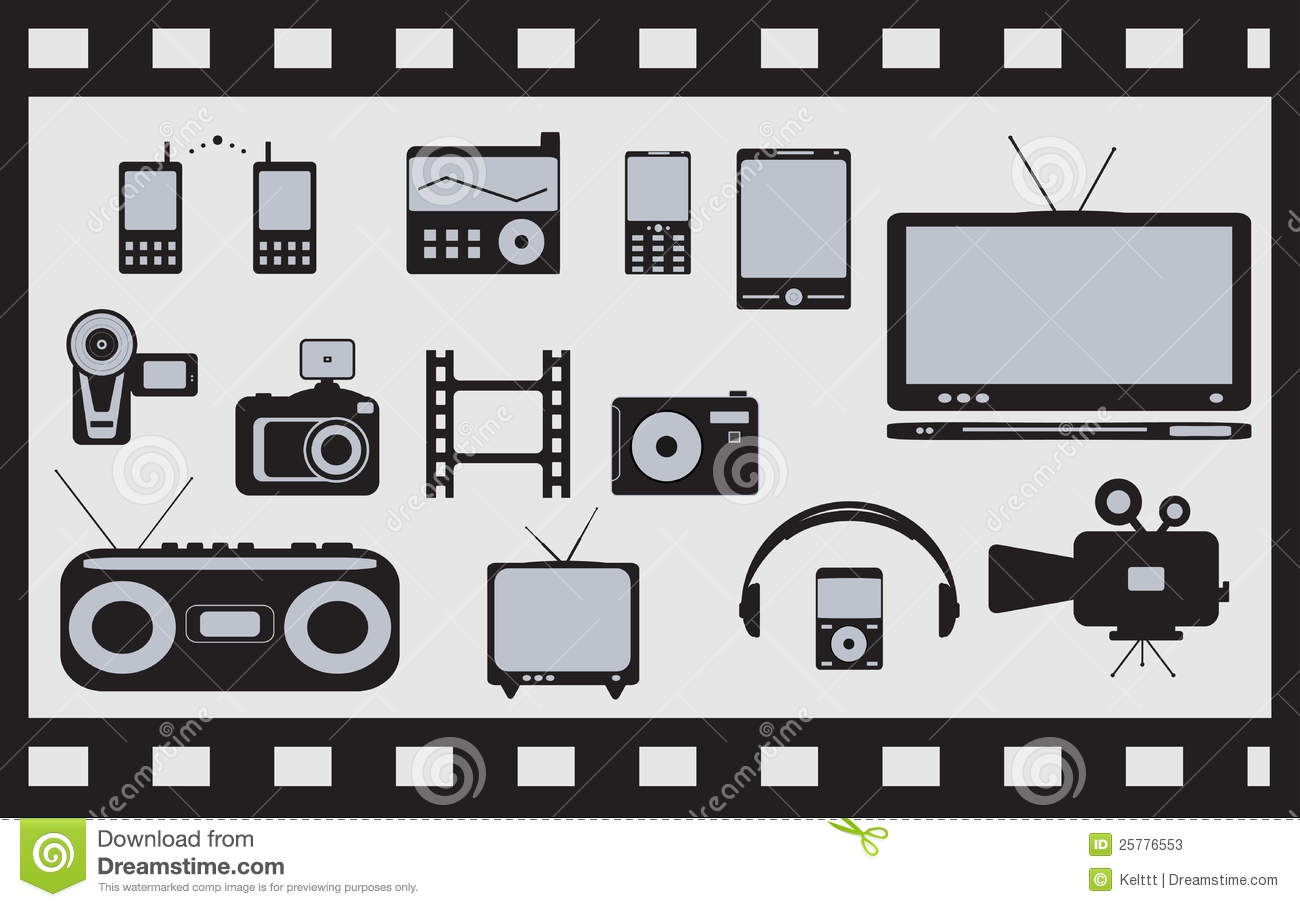 Set Of Satellite, Audio, Video Technical Objects Stock Photos.