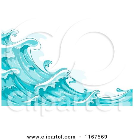 Clipart Blue Ocean Surf Splashes 1.
